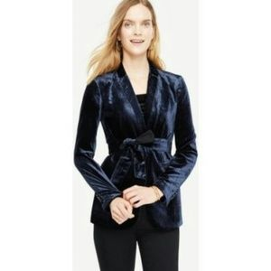 FALL LOOK..Navy Velvet Velour Belted Blazer Jacket